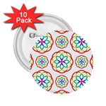 Geometric Circles Seamless Rainbow Colors Geometric Circles Seamless Pattern On White Background 2.25  Buttons (10 pack)