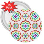 Geometric Circles Seamless Rainbow Colors Geometric Circles Seamless Pattern On White Background 3  Buttons (10 pack)