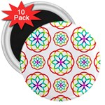 Geometric Circles Seamless Rainbow Colors Geometric Circles Seamless Pattern On White Background 3  Magnets (10 pack)