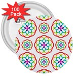 Geometric Circles Seamless Rainbow Colors Geometric Circles Seamless Pattern On White Background 3  Buttons (100 pack)