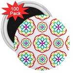 Geometric Circles Seamless Rainbow Colors Geometric Circles Seamless Pattern On White Background 3  Magnets (100 pack)