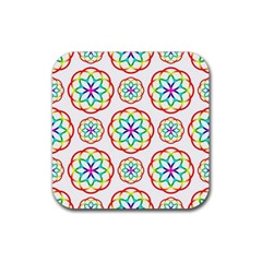 Geometric Circles Seamless Rainbow Colors Geometric Circles Seamless Pattern On White Background Rubber Square Coaster (4 Pack)  by Simbadda
