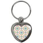 Geometric Circles Seamless Rainbow Colors Geometric Circles Seamless Pattern On White Background Key Chains (Heart)