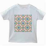 Geometric Circles Seamless Rainbow Colors Geometric Circles Seamless Pattern On White Background Kids White T-Shirts