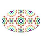 Geometric Circles Seamless Rainbow Colors Geometric Circles Seamless Pattern On White Background Oval Magnet