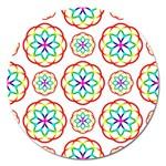 Geometric Circles Seamless Rainbow Colors Geometric Circles Seamless Pattern On White Background Magnet 5  (Round)