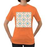Geometric Circles Seamless Rainbow Colors Geometric Circles Seamless Pattern On White Background Women s Dark T-Shirt