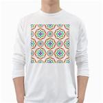 Geometric Circles Seamless Rainbow Colors Geometric Circles Seamless Pattern On White Background White Long Sleeve T-Shirts
