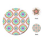 Geometric Circles Seamless Rainbow Colors Geometric Circles Seamless Pattern On White Background Playing Cards (Round)