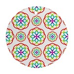 Geometric Circles Seamless Rainbow Colors Geometric Circles Seamless Pattern On White Background Round Ornament (Two Sides)