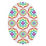 Geometric Circles Seamless Rainbow Colors Geometric Circles Seamless Pattern On White Background Oval Ornament (Two Sides)