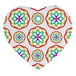 Geometric Circles Seamless Rainbow Colors Geometric Circles Seamless Pattern On White Background Heart Ornament (Two Sides)