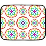 Geometric Circles Seamless Rainbow Colors Geometric Circles Seamless Pattern On White Background Double Sided Fleece Blanket (Mini)