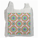 Geometric Circles Seamless Rainbow Colors Geometric Circles Seamless Pattern On White Background Recycle Bag (Two Side)