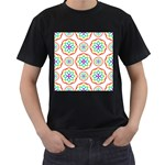 Geometric Circles Seamless Rainbow Colors Geometric Circles Seamless Pattern On White Background Men s T-Shirt (Black)