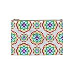 Geometric Circles Seamless Rainbow Colors Geometric Circles Seamless Pattern On White Background Cosmetic Bag (Medium)