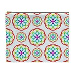 Geometric Circles Seamless Rainbow Colors Geometric Circles Seamless Pattern On White Background Cosmetic Bag (XL)