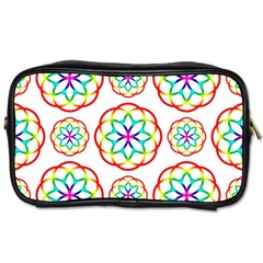 Geometric Circles Seamless Rainbow Colors Geometric Circles Seamless Pattern On White Background Toiletries Bags 2 Side by Simbadda