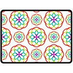 Geometric Circles Seamless Rainbow Colors Geometric Circles Seamless Pattern On White Background Fleece Blanket (Large)