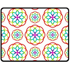 Geometric Circles Seamless Rainbow Colors Geometric Circles Seamless Pattern On White Background Fleece Blanket (medium)  by Simbadda