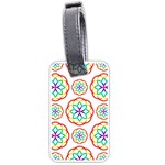 Geometric Circles Seamless Rainbow Colors Geometric Circles Seamless Pattern On White Background Luggage Tags (Two Sides)