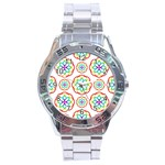 Geometric Circles Seamless Rainbow Colors Geometric Circles Seamless Pattern On White Background Stainless Steel Analogue Watch