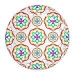 Geometric Circles Seamless Rainbow Colors Geometric Circles Seamless Pattern On White Background Round Filigree Ornament (Two Sides)