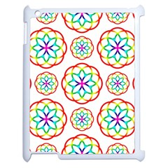 Geometric Circles Seamless Rainbow Colors Geometric Circles Seamless Pattern On White Background Apple Ipad 2 Case (white) by Simbadda
