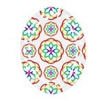 Geometric Circles Seamless Rainbow Colors Geometric Circles Seamless Pattern On White Background Oval Filigree Ornament (Two Sides)
