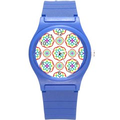 Geometric Circles Seamless Rainbow Colors Geometric Circles Seamless Pattern On White Background Round Plastic Sport Watch (s) by Simbadda