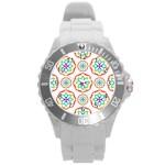 Geometric Circles Seamless Rainbow Colors Geometric Circles Seamless Pattern On White Background Round Plastic Sport Watch (L)