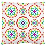 Geometric Circles Seamless Rainbow Colors Geometric Circles Seamless Pattern On White Background Large Cushion Case (Two Sides)