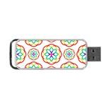 Geometric Circles Seamless Rainbow Colors Geometric Circles Seamless Pattern On White Background Portable USB Flash (Two Sides)