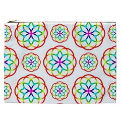 Geometric Circles Seamless Rainbow Colors Geometric Circles Seamless Pattern On White Background Cosmetic Bag (xxl)  by Simbadda