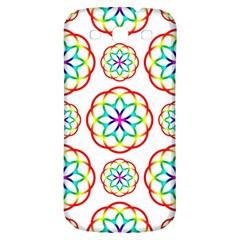 Geometric Circles Seamless Rainbow Colors Geometric Circles Seamless Pattern On White Background Samsung Galaxy S3 S Iii Classic Hardshell Back Case by Simbadda