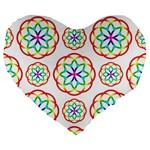 Geometric Circles Seamless Rainbow Colors Geometric Circles Seamless Pattern On White Background Large 19  Premium Heart Shape Cushions