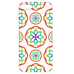 Geometric Circles Seamless Rainbow Colors Geometric Circles Seamless Pattern On White Background Apple Iphone 5 Hardshell Case With Stand by Simbadda