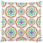 Geometric Circles Seamless Rainbow Colors Geometric Circles Seamless Pattern On White Background Large Flano Cushion Case (Two Sides)