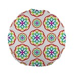 Geometric Circles Seamless Rainbow Colors Geometric Circles Seamless Pattern On White Background Standard 15  Premium Flano Round Cushions
