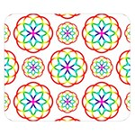 Geometric Circles Seamless Rainbow Colors Geometric Circles Seamless Pattern On White Background Double Sided Flano Blanket (Small)