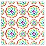 Geometric Circles Seamless Rainbow Colors Geometric Circles Seamless Pattern On White Background Large Satin Scarf (Square)