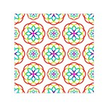 Geometric Circles Seamless Rainbow Colors Geometric Circles Seamless Pattern On White Background Small Satin Scarf (Square)
