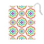 Geometric Circles Seamless Rainbow Colors Geometric Circles Seamless Pattern On White Background Drawstring Pouches (Extra Large)
