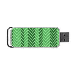 Green Herringbone Pattern Background Wallpaper Portable Usb Flash (two Sides) by Simbadda