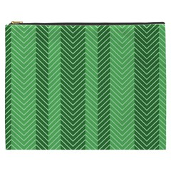 Green Herringbone Pattern Background Wallpaper Cosmetic Bag (xxxl)  by Simbadda
