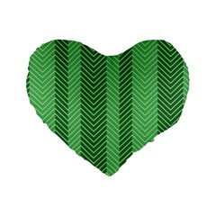 Green Herringbone Pattern Background Wallpaper Standard 16  Premium Heart Shape Cushions by Simbadda