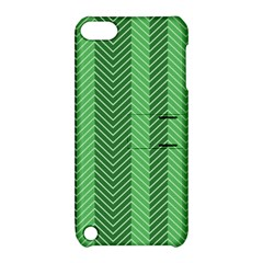Green Herringbone Pattern Background Wallpaper Apple Ipod Touch 5 Hardshell Case With Stand by Simbadda