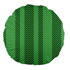 Green Herringbone Pattern Background Wallpaper Large 18  Premium Flano Round Cushions by Simbadda