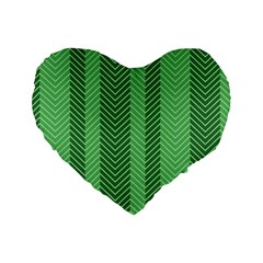 Green Herringbone Pattern Background Wallpaper Standard 16  Premium Flano Heart Shape Cushions by Simbadda