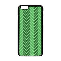 Green Herringbone Pattern Background Wallpaper Apple Iphone 6/6s Black Enamel Case by Simbadda